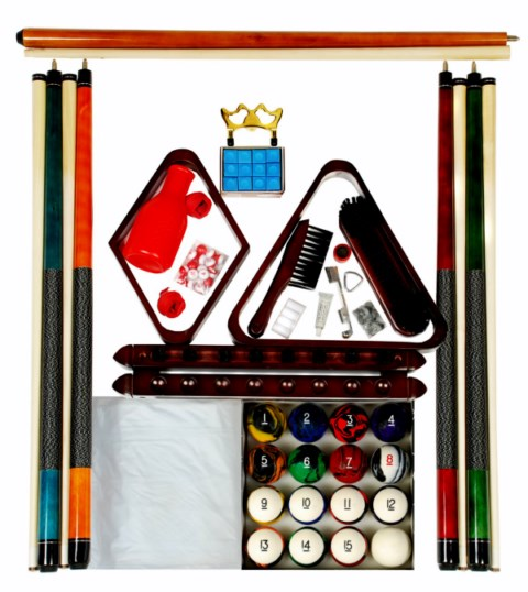 Billiard - Pool Table Accessory Kit W Tech Style Ball Set Mahogany Finish